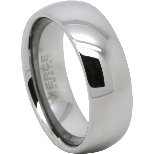 Polished 8mm Tungsten Mens Ring