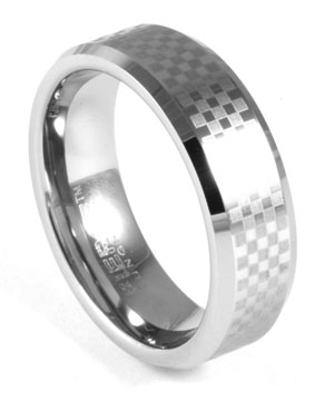 Checker Tungsten Ring