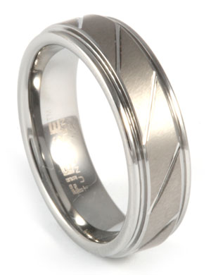 Brushed Grooved Tungsten Ring