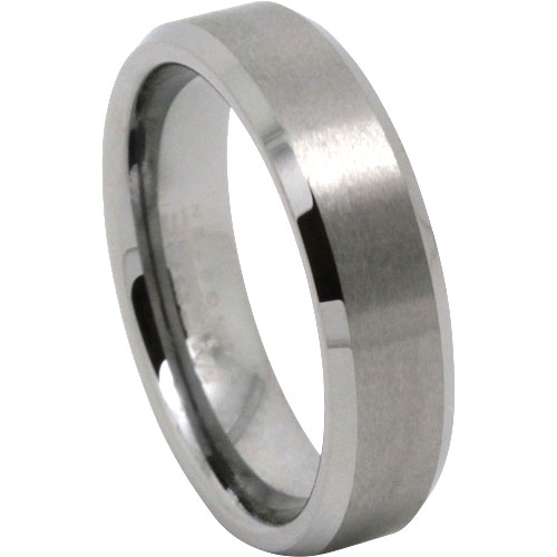Mens Brushed Tungsten Wedding Ring