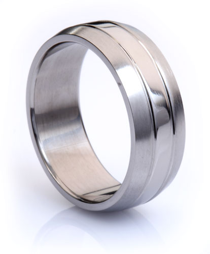 Titanium Mens Ring with Polished Centerline