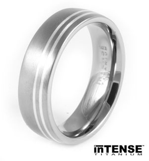Dual Silver Inlay Titanium Ring