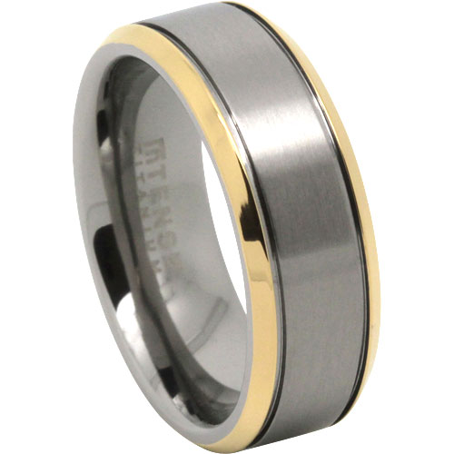 Gold Titanium Mens Ring
