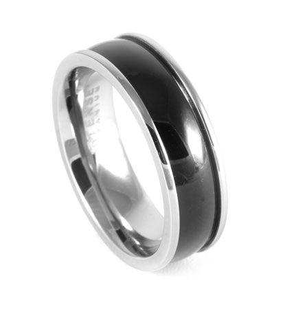 Black Centerline Titanium Ring