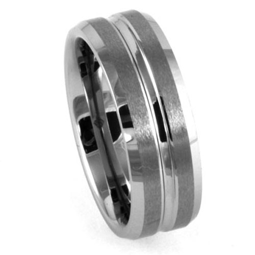 Brushed Tungsten Ring with Polished Centerline