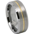 Tungsten Gold Mens Ring