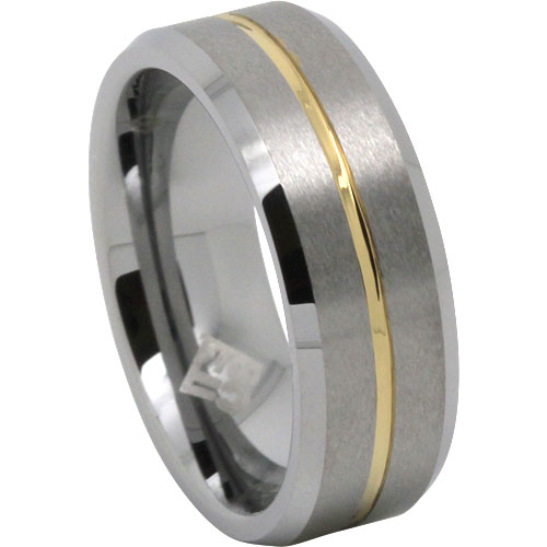 Mens Tungsten Wedding Ring Featuring A Gold Accent