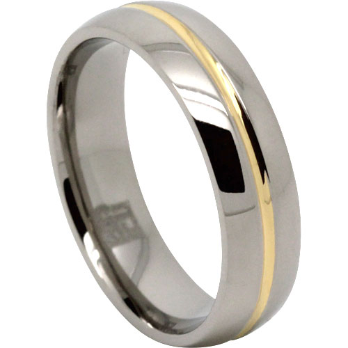 Titanium Gold Mens Ring