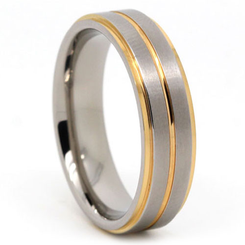 Gold And Satin Finish Titanium Wedding Band