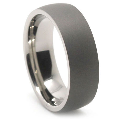 Dark Matte Finish Titanium Dome Mens Ring