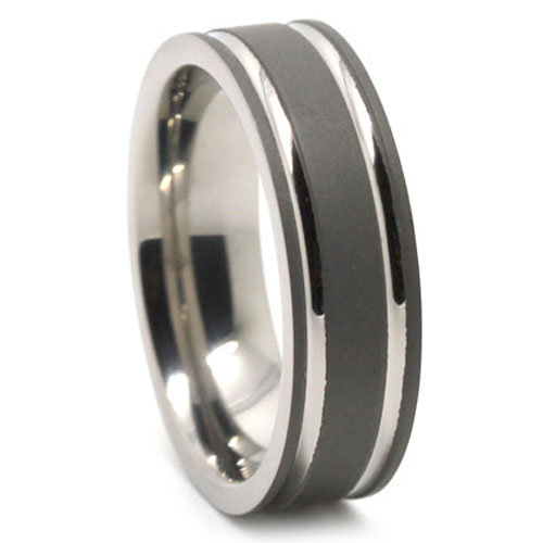 Dark Matte Finish Titanium Mens Ring