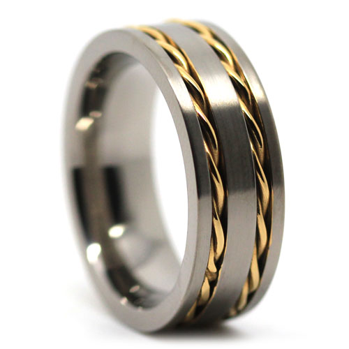 Wide Anium Wedding Band With Gold Chain Inlay