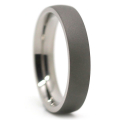 Dark Thin Matte Finish Titanium Dome Men's Ring