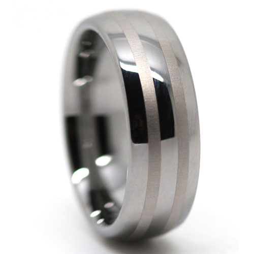 Dome Polished Tungsten Ring with Brushed Center Line Accents