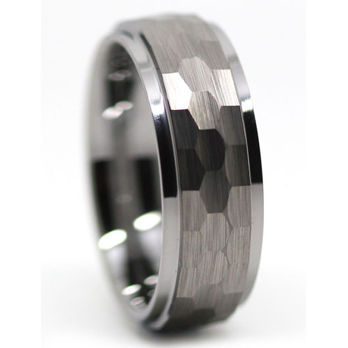 Mens Hammered Tungsten Ring