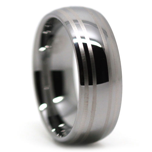 Dome Polished Tungsten Ring with Dual Brushed Center Line Accents
