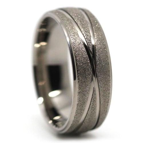 Titanium Sandblast Mens Wedding Ring