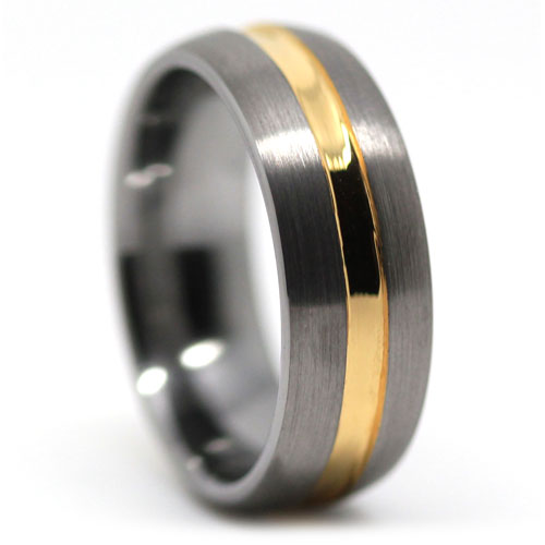 Tungsten Dome Mens Wedding Ring With Gold