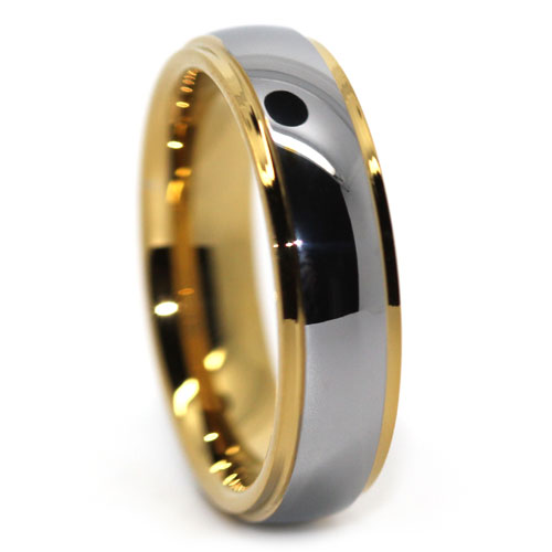 Polished Tungsten Ring with Gold Step Edge