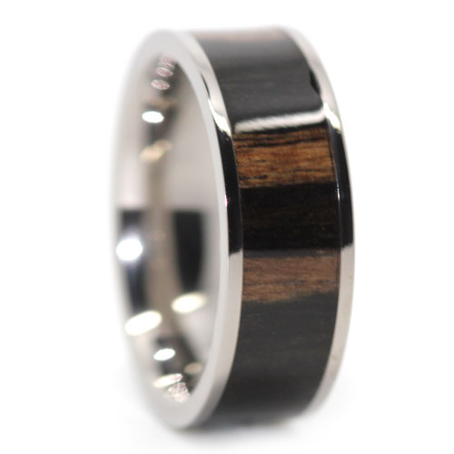 Real Koa Wood Mens Titanium Ring