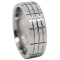 Grooved Tungsten Mens Ring