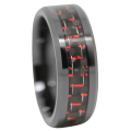 Red Carbon Fiber Mens Ring