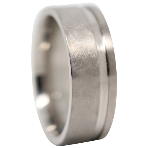 Men S Grooved Comet Titanium Ring Featuring A Wider New Design