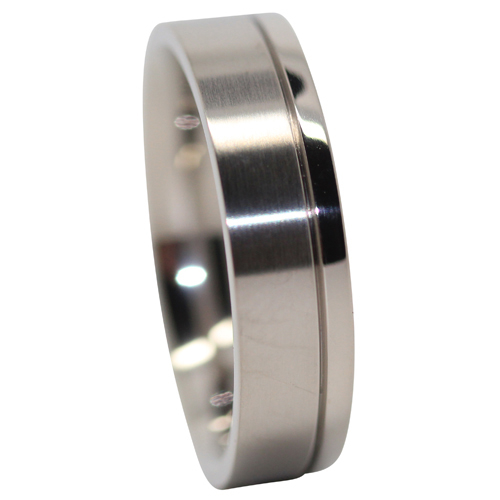 Satin And Polished Mens Titanium Ring