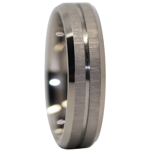 Brushed Titanium Mens Ring