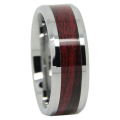 Dark Koa Wood Tungsten Mens Ring