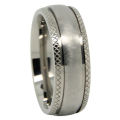Distressed Finish Comet Titanium Mens Wedding Ring