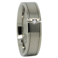 Satin Finished Mens Wedding Ring With Simulated Diamond