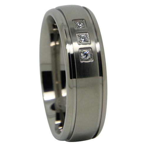 Mens Titanium Wedding Ring With Triple Stones