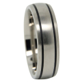 Titanium Wedding Ring With Twin Black Grooves