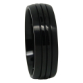 Triple Groove Black Titanium Mens Ring