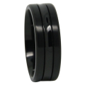 Black Titanium Mens Ring With Concave Centerline