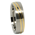 Titanium Wedding Ring With Twin Gold Wave