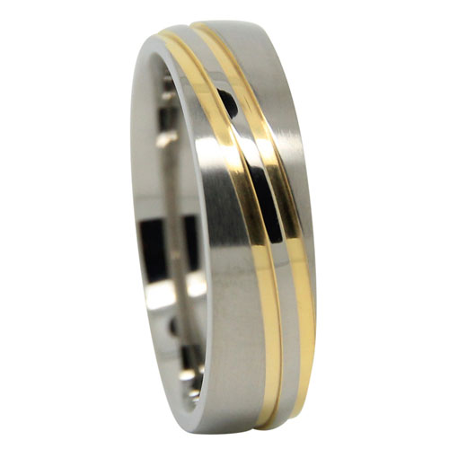 Anium Wedding Ring With Twin Gold Wave