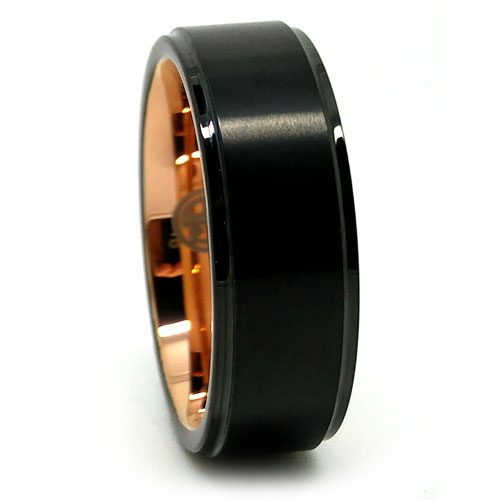 Black Tungsten With Rose Gold Accent Men S Wedding Ring
