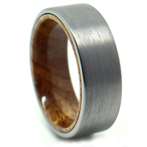 Tungsten with Koa Wood Accent Mens Wedding Ring